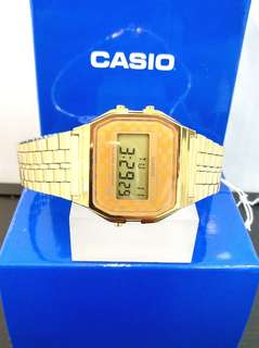 Brand New 100% Authentic Casio Basic PVD Gold Checkered Dial Digital Watch A168WGEA-9ADF