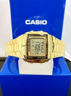 Brand New 100% Authentic Casio PVD Gold Digital Display Telephone Memo Watch DB360G-9ADF