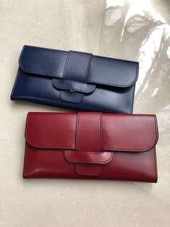 🚚 全新⭐️藍酒紅現貨⭐️真皮長夾、皮夾、韓款、真皮質感超美亮