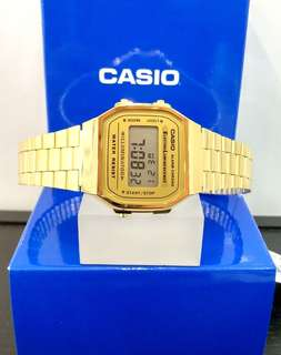 Brand New 100% Authentic Casio Basic PVD Gold Digital Watch with Illuminator BackLight A168WG-9WDF