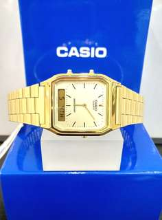 Brand New 100% Authentic Casio Basic Ana Digital Vintage Style Watch on PVD Gold AQ230GA-9