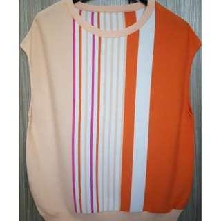 拼色直條紋針織上衣~全新商品