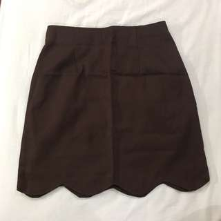 Taiwan brown scallop skirt