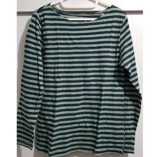 Green & blue stripes long sleeves