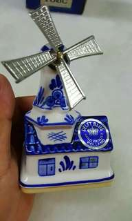 Porcelain windmill music box figurine