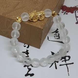 Natural white crystal mantra matte gold Pixiu Code 28