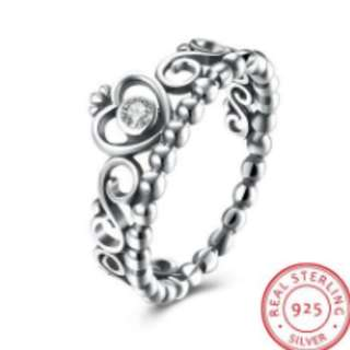 S925 Silver Ring Heart Shaped Crown Diamond Ring