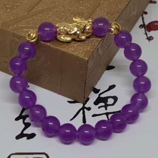 Natural Purple Chalcedony Gold Pixiu Code 29