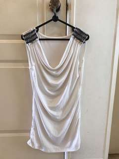 White Top with shoulder glitter