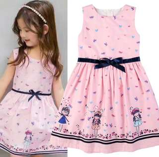 Kids Floral Cartoon Princess Dress