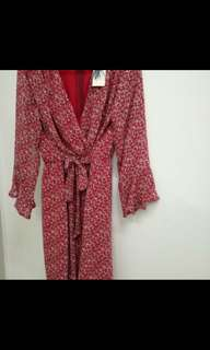 Red wrap tie v neck dress