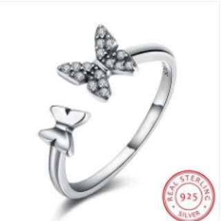 S925 Silver Ring Retro Wind Butterfly Open Ring