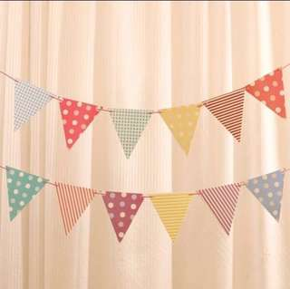 Party Flags Banner Garland Bunting Triangle Decoration Happy Birthday