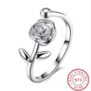 S925 Silver Ring Rose Opening Ring