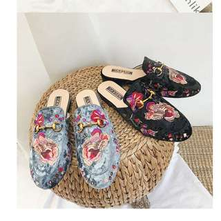 Embroidered Floral Sandals