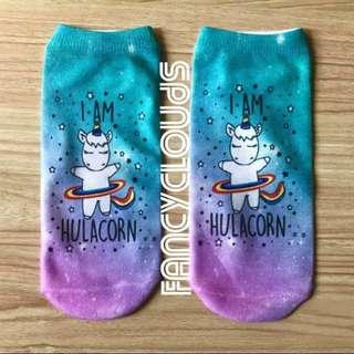 Hulacorn Ankle Socks; Cute cartoon unicorn rainbow hulahoop; ulzzang Korean kpop jpop; trendy fashionable; present gift girls