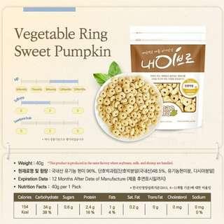 Pre-order - Korea [NAEBRO] Baby Snack Food - Vegetable Ring Sweet Pumpkin
