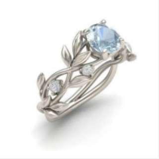 Silver Floral Transparent Diamond Vine Leaf Ring