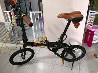 16 inches foldable bike black and gold Hachiko