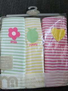 Brand new Mothercare Sleeveless Pure Soft Cotton Bodysuit