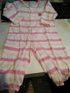 🚚 近新snoopy粉紅條紋連身衣