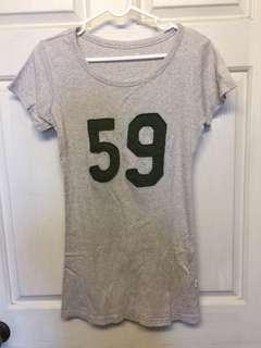 🚚 韓組59數字貼布米色棉質長版T恤上衣(運動風搭窄管牛仔褲很好看) #尺寸:Free size