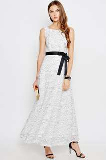 PAPERLILY LACE MAXI DRESS W SASH WHITE
