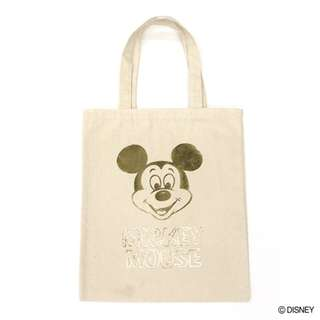 Japan Disney Accommode Mickey Mouse Gold Metallic Print Tote Bag