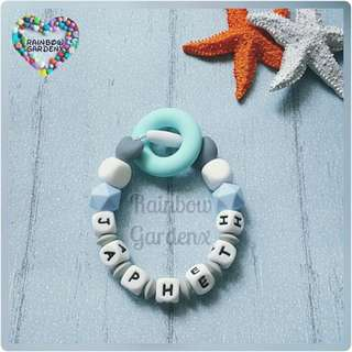 Customised Handmade Silicone beads Bracelet / Baby Ring Teether Rattle / Teething Toy