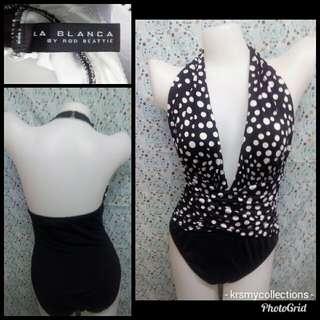 Black polkadot swimsuit