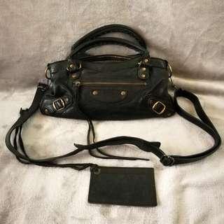 Rare Vintage Balenciaga Flat Brass First Handbag