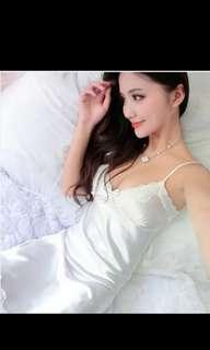 Satin Pure White Sleepwear Sexy Lingerie Dress