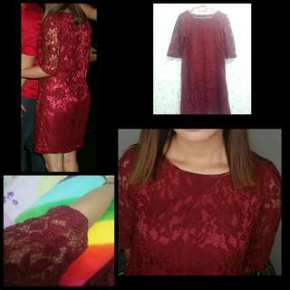 Maroon Red Lace Dress