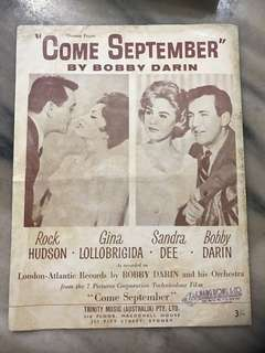 Come September Vintage Music Sheet