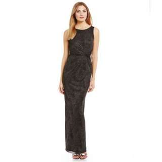 Calvin Klein 黑色閃閃長裙  Calvin Klein Gathered Swirl-Pattern Sparkle Gown (可租)