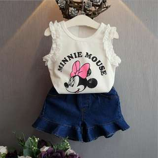 Girls New Fashion Mickey Shirt + Jeans Pants