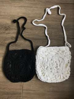 Hand Made! 手織鈎花文青袋(有大童小童size)