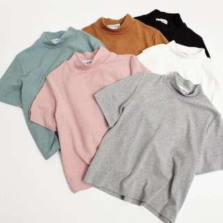 Mock/high neck plain basic t shirt top