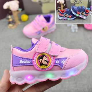 Ready Stock Boys & Girls Flashing cartoon sports shoes