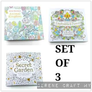 Set of 3pcs Colouring Book For Adults