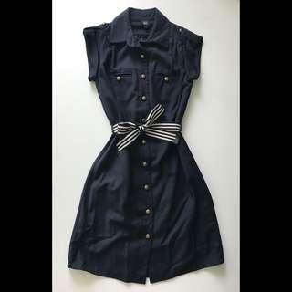 GG5 Button Dress in Navy XS