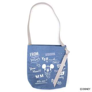 Japan Disney Accommode Mickey Mouse Blue Lettering Design Calligraphy Shoulder Tote Bag