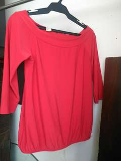 Red blouse Genevieve off shoulder