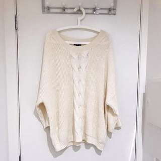 H&M Comfy Oversized Cream Knitted Jumper Sweater