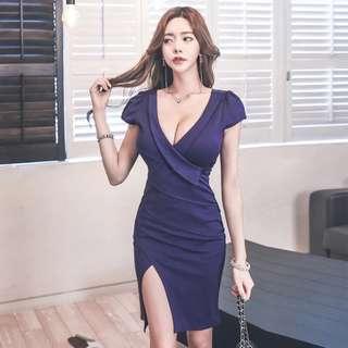 Short Sleeve V Neck Slit Front Bodycon Midi Dress