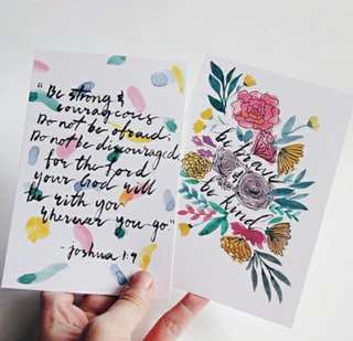 Handmade Watercolour Calligraphy Cards