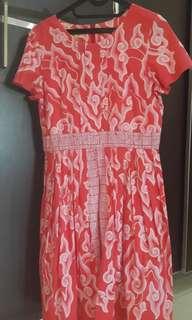 dress batik awan merah
