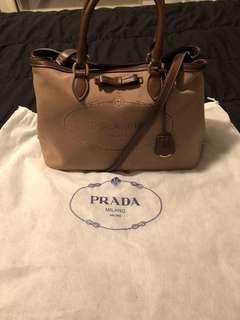 Authentic Prada Logo Jacquard Corda Bruciato Leather and Canvas