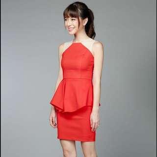 TheVelvetDolls orange peplum dress with mesh shoulders S