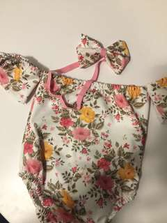 Floral Off-shoulder Swimwear with Headpiece